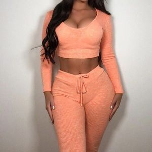 Other - Orange Ribbed Knit Loungewear Tracksuit